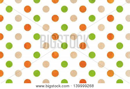 Watercolor Green, Orange And Beige Polka Dot Background.