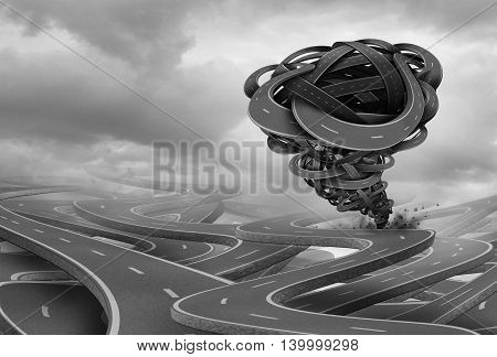 Business crisis risk and stress as a destructive tornado or cyclone storm shaped with roads destroying opportunity and growing financial fear as a 3D illustration.