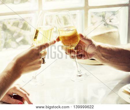 Couple Sparkling Wine Cheers Celebration Concept