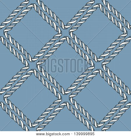 Seamless nautical rope knot pattern. Endless navy illustration with white fishing net ornament on blue backdrop. Trendy maritime style background. For fabric, wallpaper, wrapping