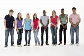 picture of teenage girl  - Group Of Teenage Friends In Studio - JPG