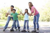 Постер, плакат: Семья кататься на коньках в парке
