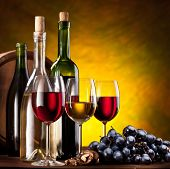 pic of wine bottle  - Still life with wine bottle - JPG