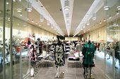 stock photo of shopping center  - female clothes in a shopping centre -