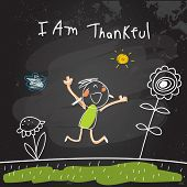 Positive affirmations for kids, motivational, inspirational concept vector illustration. I am thankf poster