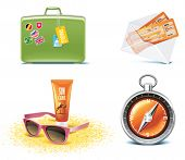 stock photo of sunburn  - Travel and vacations icons - JPG