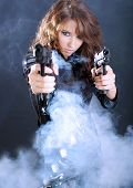 stock photo of girls guns  - Sexy gangster girl - JPG