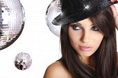 sexy showgirl girl over mirror ball background poster