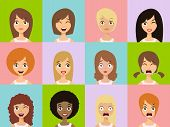 Girls Emotion Icons. Woman Emotions Expression Icons. poster