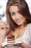 Постер, плакат: женщина hold торт