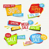 Set of creative Sale Tags, Banners, Stickers, Label, Different Discount Offers, Vector Promotional d poster