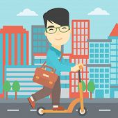 Постер, плакат: An asian young man riding a kick scooter Businessman with briefcase riding to work on scooter Man
