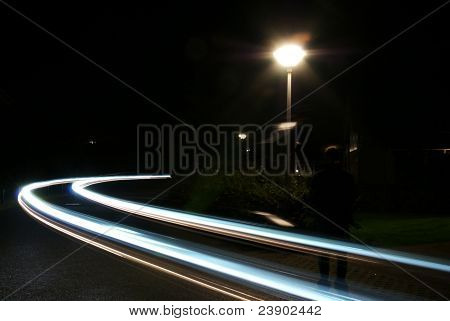 Blurred Lights On Street At Night