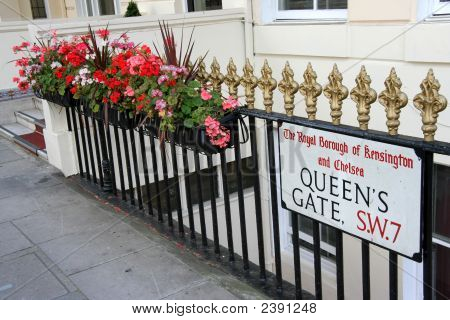 London Street Sign And Planters