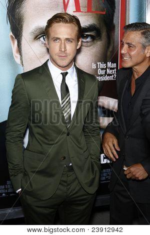 LOS ANGELES - SEPT 27:  Ryan Gosling, George Clooney arriving at  the