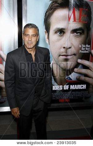 "LOS ANGELES - SEPT 27:  George Clooney arriving at  the ""The Ides Of March"" LA Premiere at the Academy of Motion Picture Arts and Sciences on September 27, 2011 in Beverly Hills, CA"