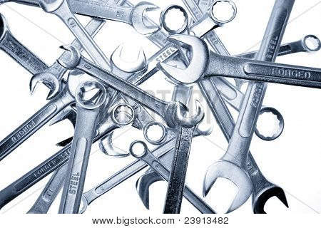 Spanners on a plain background