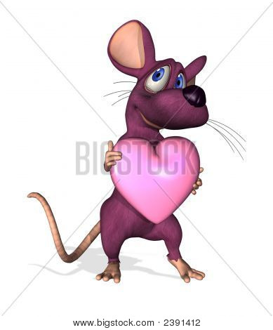 Cartoon Mouse With Heart