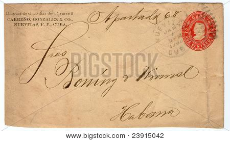 Cuba 1902:A cover printed in Cuba shows image of Columb, circa 1902.