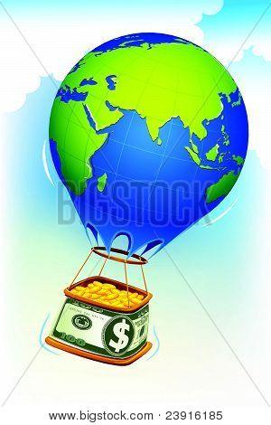 Coin in Dollar hot air balloon