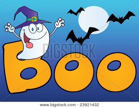 Ghost Wearing A Witch Hat In The Word BOO