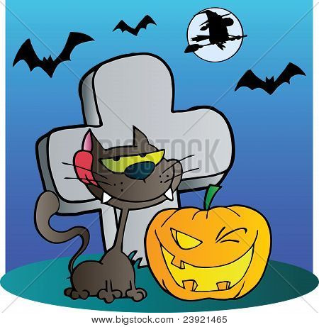 Black Cat And Halloween Jackolantern By A Tombstone
