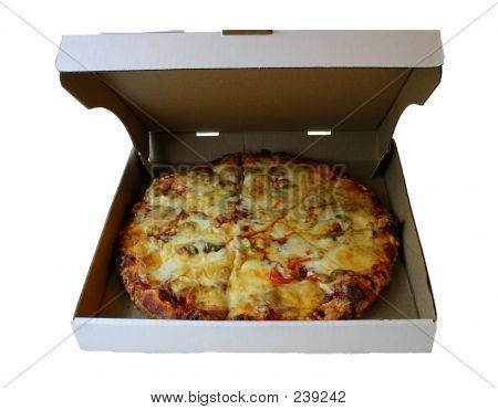 Große Pizza In einem Karton