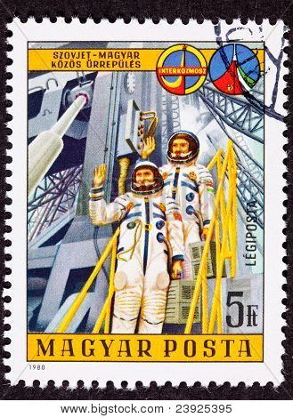Stamp Waving Astronauts Launch Tower Space Suit