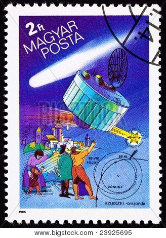 Hungarian Postage Stamp Suisei Space Probe, Halley's Comet, People Pointing