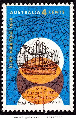 Canceled Australian Postage Stamp Dutch Dirk Hartog Sailing Ship Crisscross
