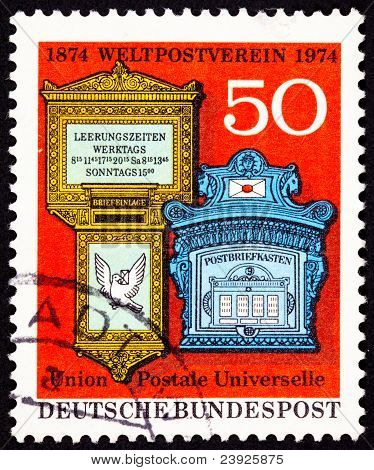 Canceled West Germany Postage Stamp Ornate Traditional Mailboxes Bundespost