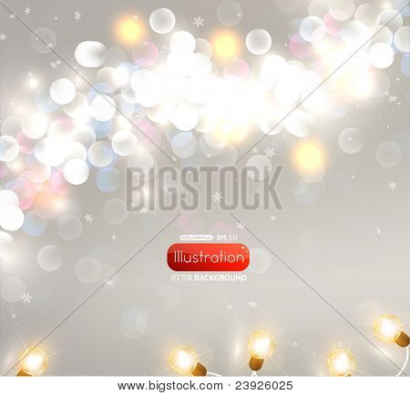 Abstract blur background with garland for christmas design