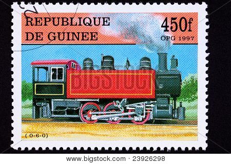 Guinea Train Postage Stamp Old Railroad Steam Engine Locomotive