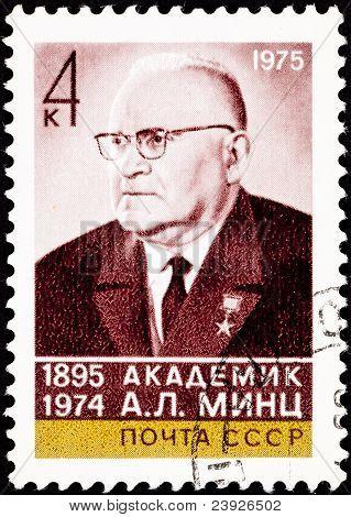 Canceled Soviet Russia Postage Stamp A. L. Mints, Researcher Abm