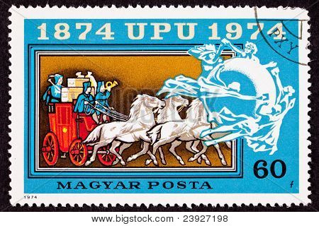 Canceled Hungarian Postage Stamp Mail Delivery Stagecoach Universal Postal Union