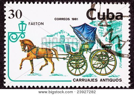 Canceled Cuban Postage Stamp Brown Horse Pulling Fancy Phaeton Carriage