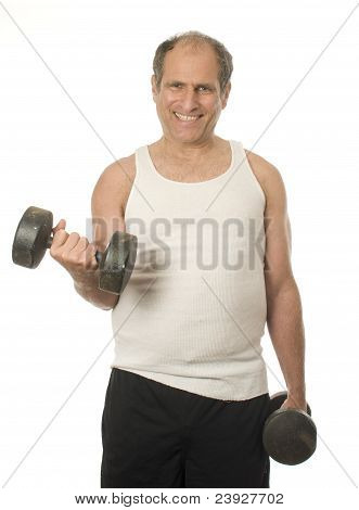 Middle Age Senior Man Working Out With Dumbbell Weights