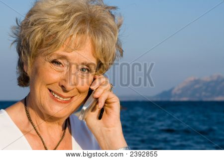 Senior Woman On Cell Or Mobile Phone