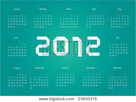 Calendário de vetor de 2012