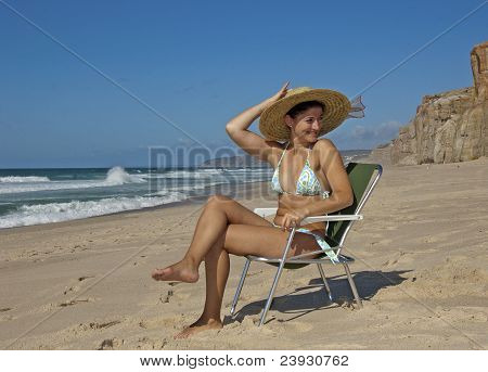 Beautifull Young Lady On The Beach