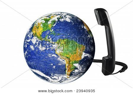Telefone com o globo da terra