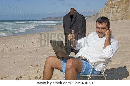 Business Men Working On The Beach !