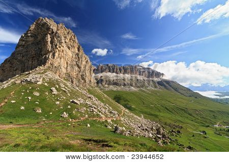 Sella Mountain And Pordoi Pass