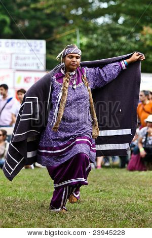YORKTOWN HEIGHTS, NY - SEPTEMBER 25: Unidentified Native American Indian woman dances at the FDR  Pow Wow on September 25, 2011 in Yorktown Heights, NY