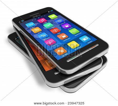 Conjunto de smartphones touchscreen