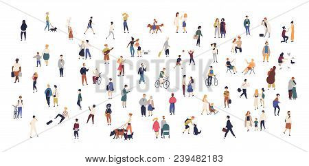 poster of Crowd Of Tiny People Walking With Children Or Dogs, Riding Bicycles, Standing, Talking, Running. Car