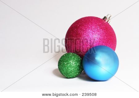 Baubles In Pink, Green And Blue