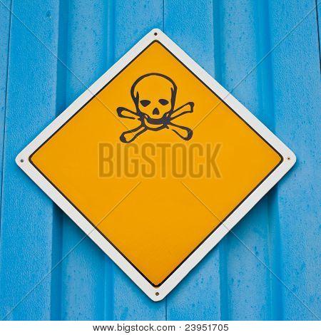 Skull and crossbones warning sign