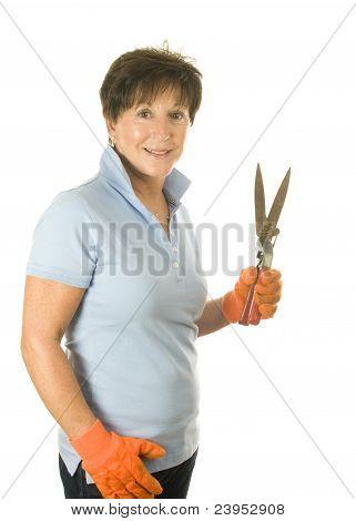 Lindo jardín de mujer de edad media mano herramienta hierba Vintage Cizallas Clipper