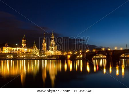 Elbe river with Catholic Church of the Royal Court of Saxony (Hofkirche) after sunset, Dresden